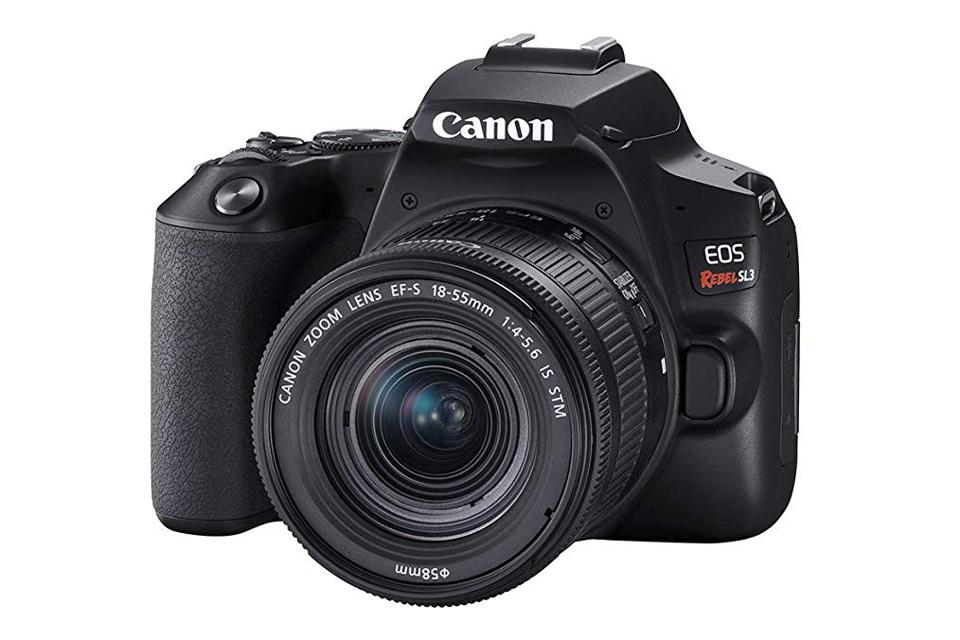 The Canon Rebel SL3 starter kit includes the camera body and a good starter lens.