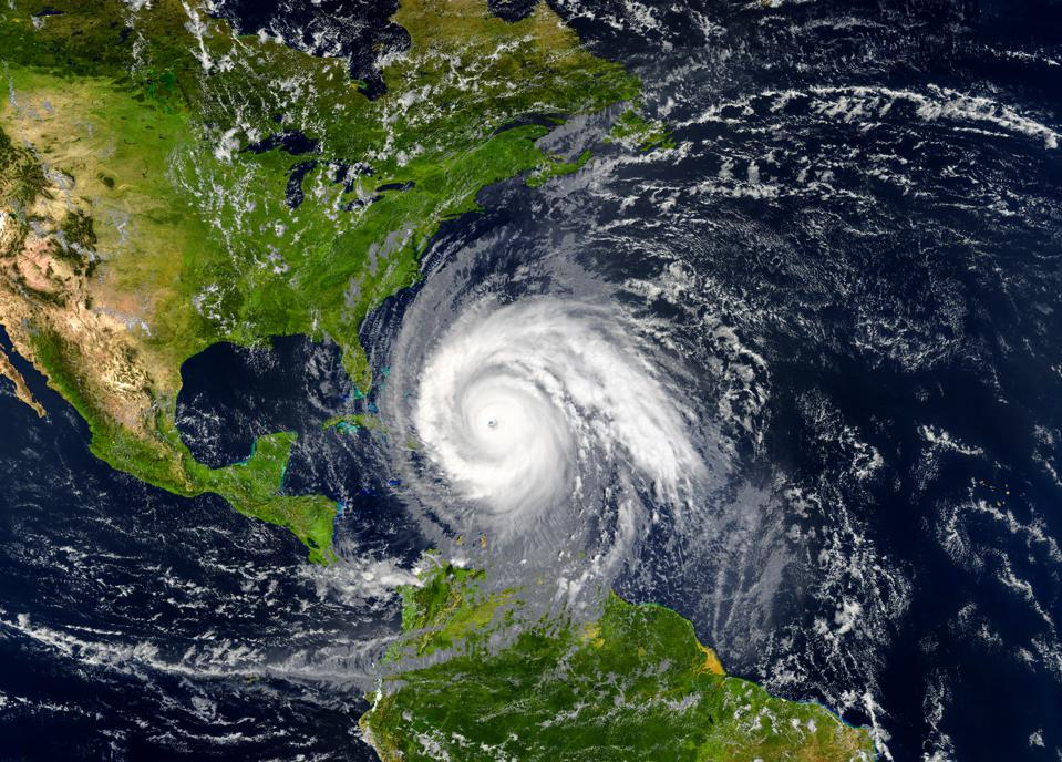 tropical hurricane approaching the USA. Elements of this image are furnished by NASA.