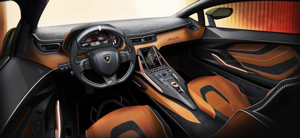The Lamborghini Sian interior seems almost restrained compared to the exterior.