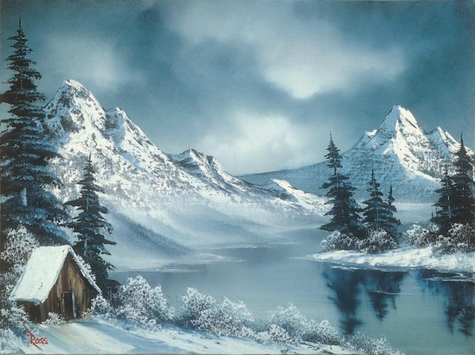 Arctic Winter Day, by Bob Ross. Courtesy of the Franklin Park Arts Center and Bob Ross Inc.