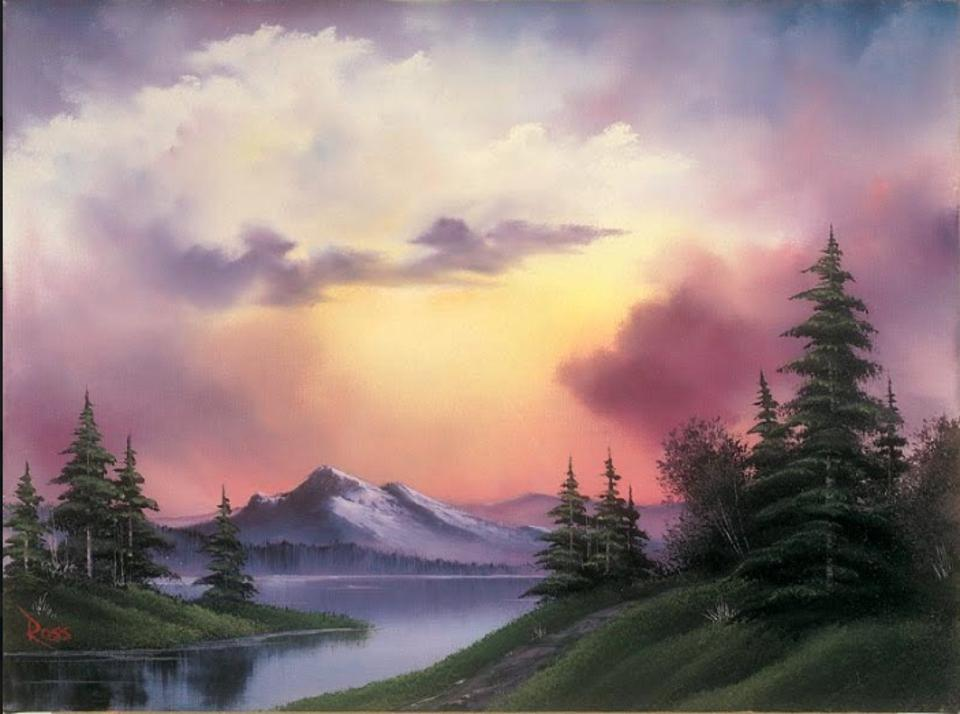 Sunset Aglow, by Bob Ross. Courtesy of the Franklin Park Arts Center and Bob Ross Inc.