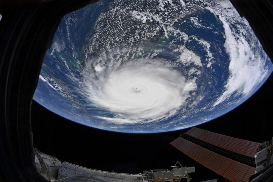 Hurricane Dorian, as seen from the International Space Station on Sept. 2, 2019. Spire uses radio occultation profiles to attempt to augment the accuracy of weather forecasts.