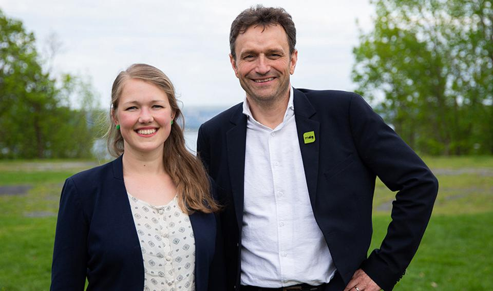 Une Aina Bastholm and Arild Hermstad, joint spokespersons for the Green Party of Norway.