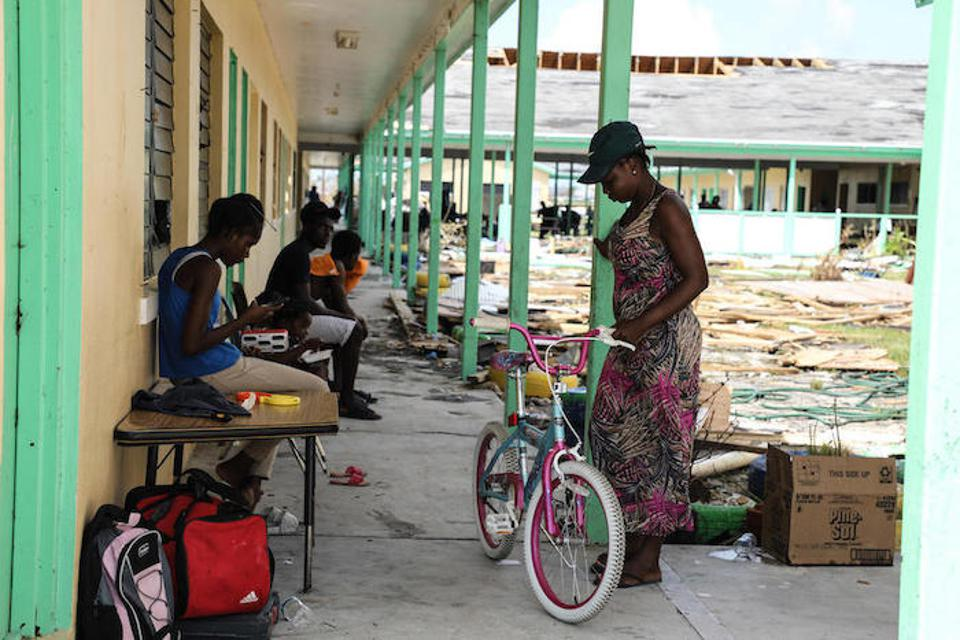 Central Abaco Primary School has become a temporary shelter for families whose homes were destroyed in Marsh Harbour on Abaco Island.