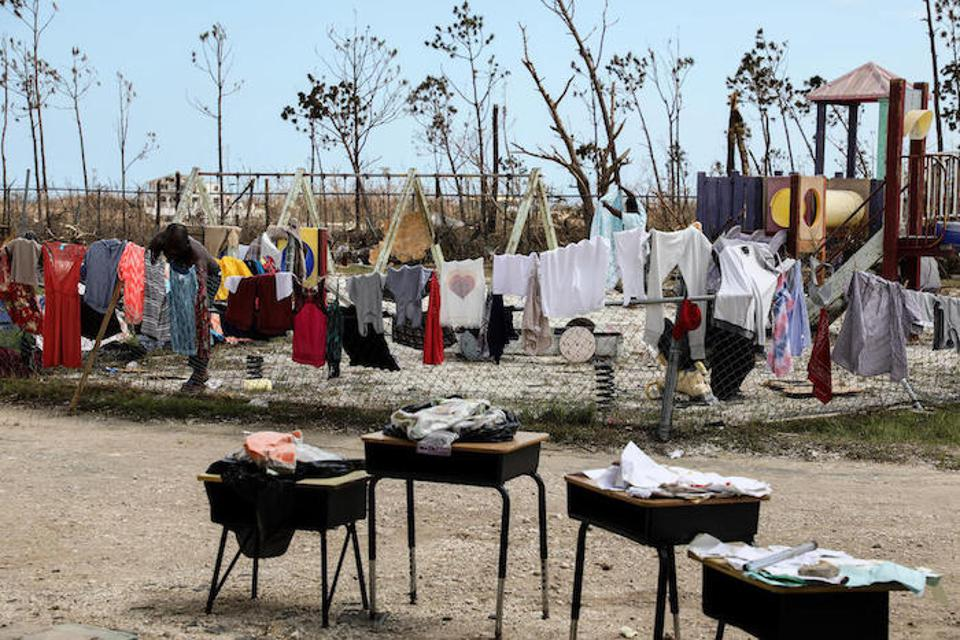 Clothes are hung up to dry on playground equipment in Marsh Harbour on Abaco Island, the Bahamas.