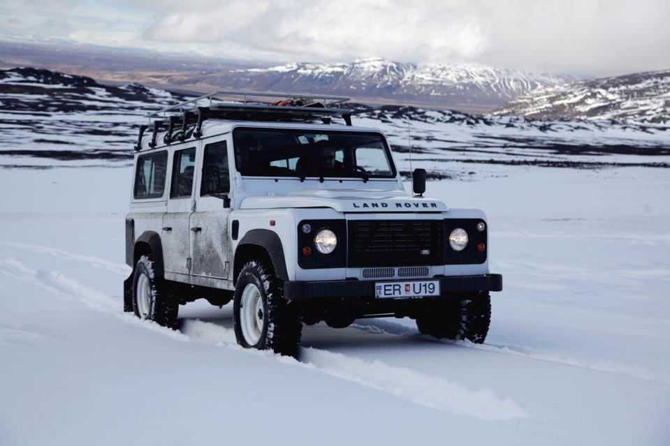 A previous-generation Land Rover Defender 110.