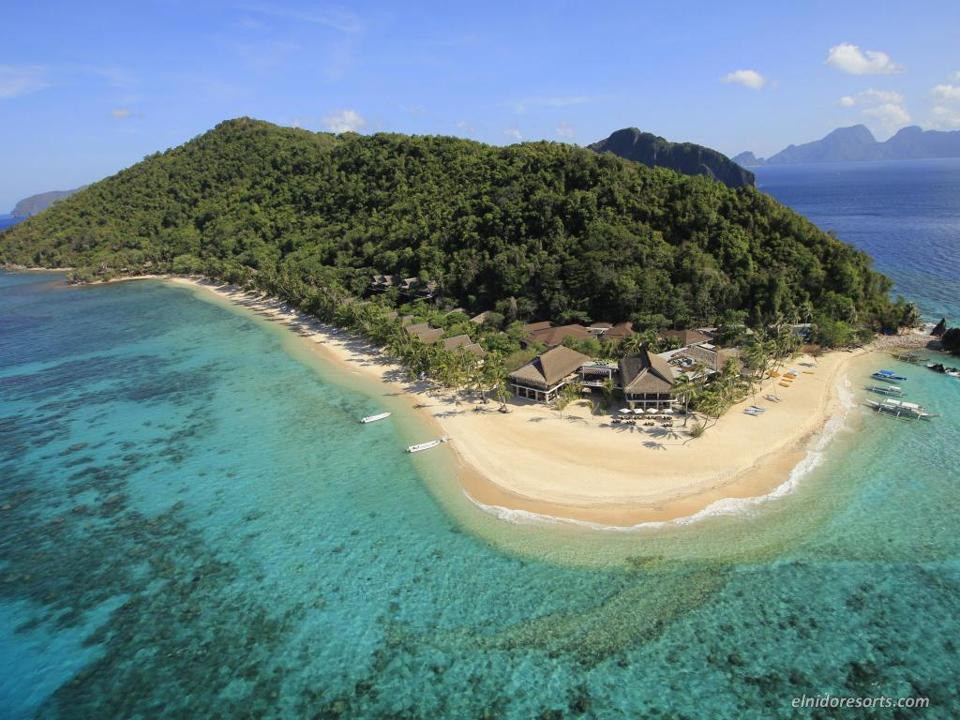 An aerial view of El Nido Resorts Pangalusian Island