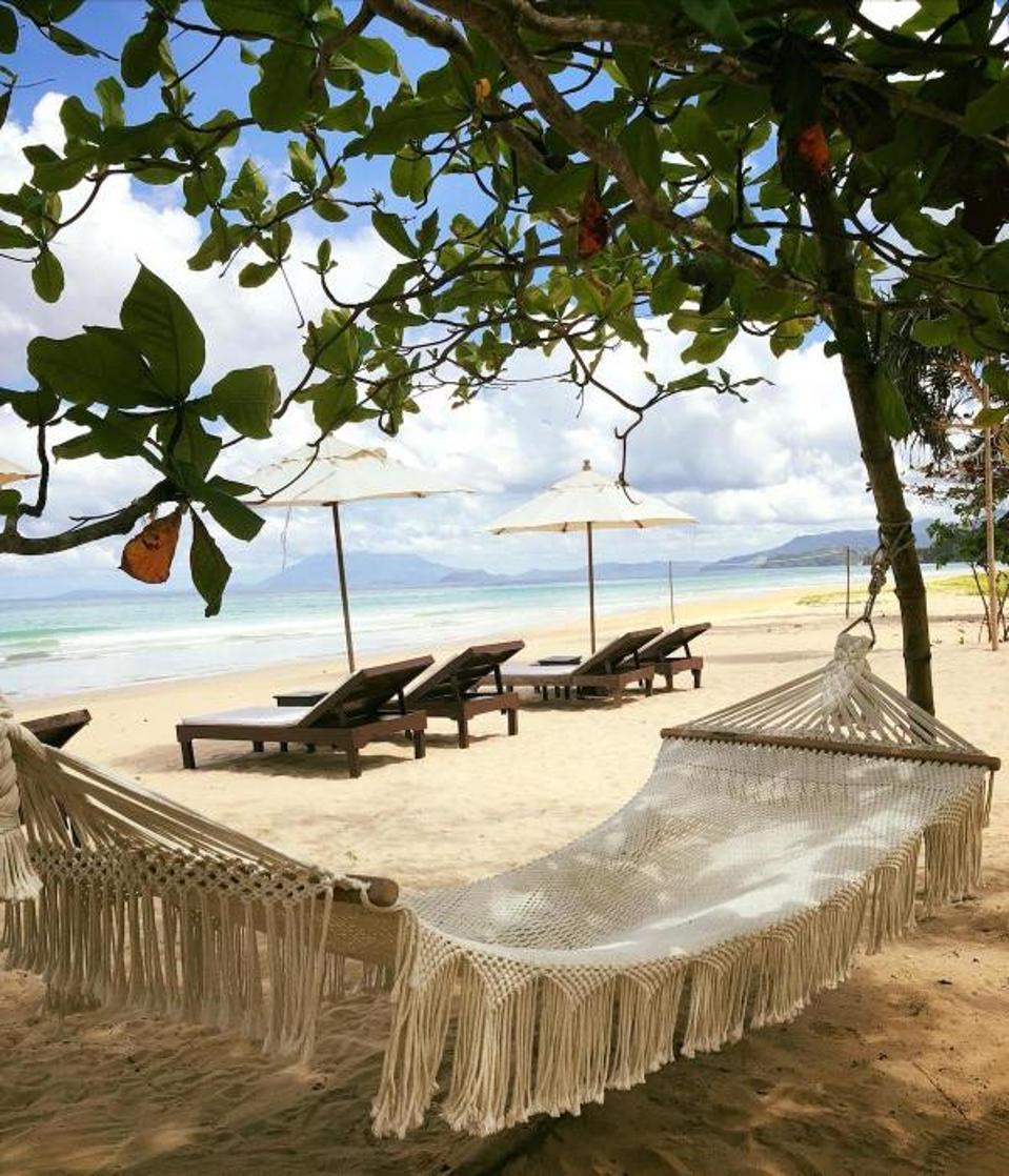 Beach front lounging at Club Agutaya