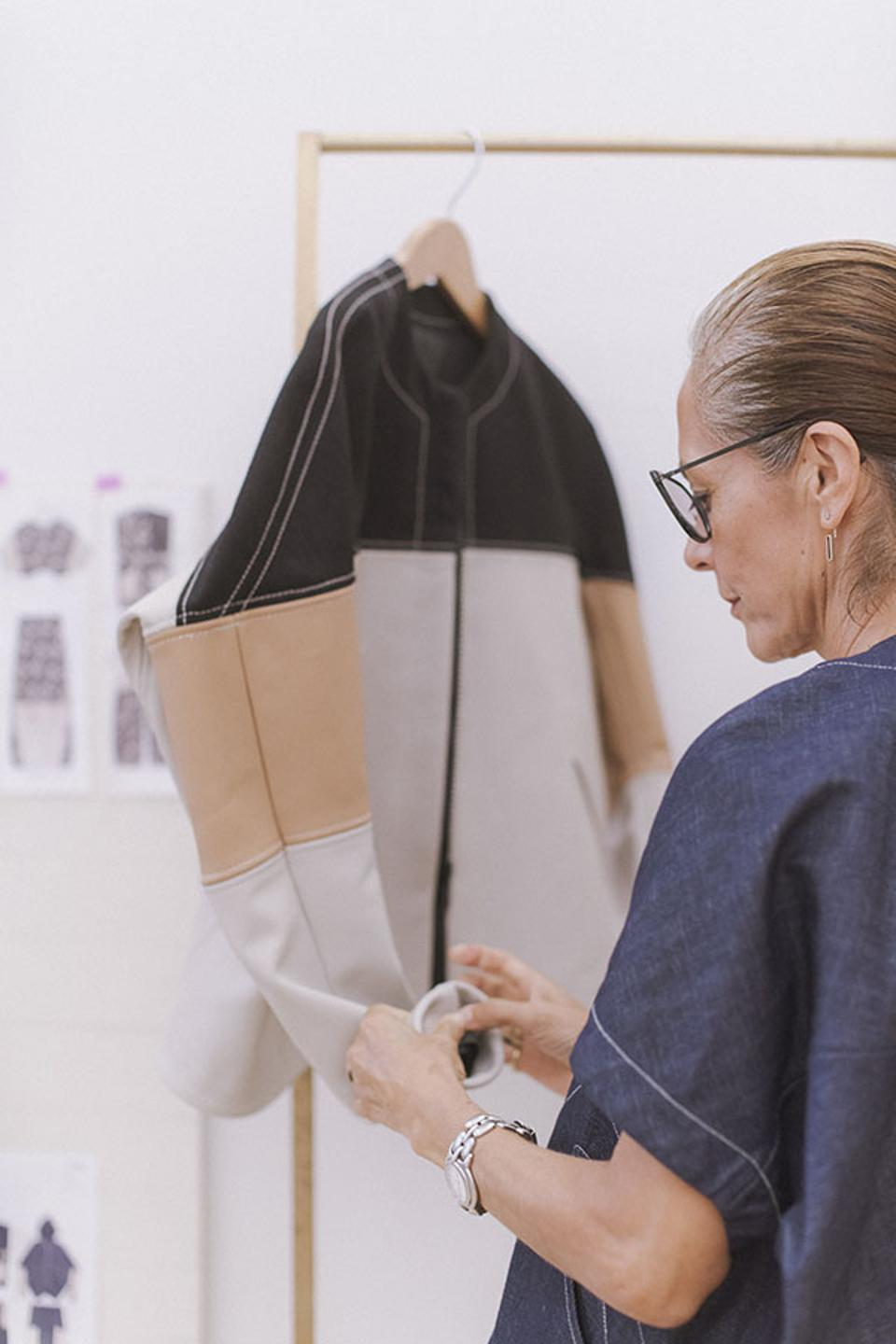 Hyundai x Zero Maria Cornejo capsule collection: Working in her Atelier using perforated leather from car seats.