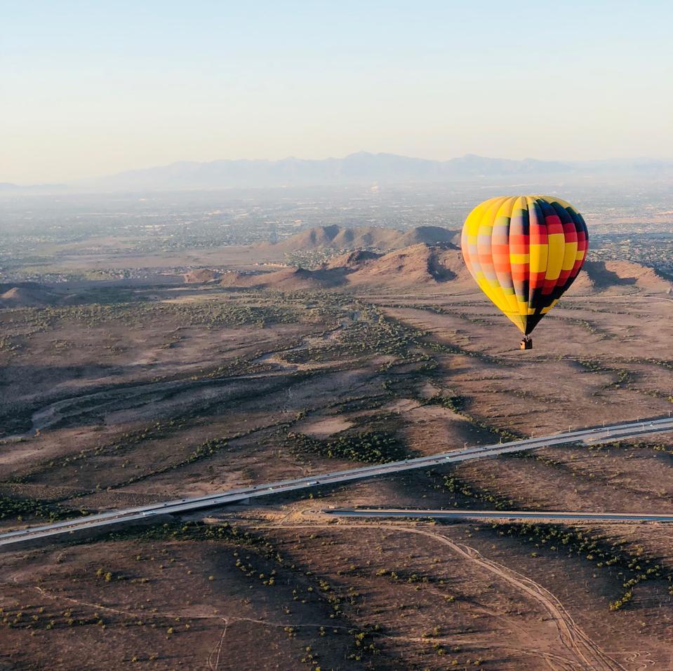 Hot Air Balloon Over The Desert