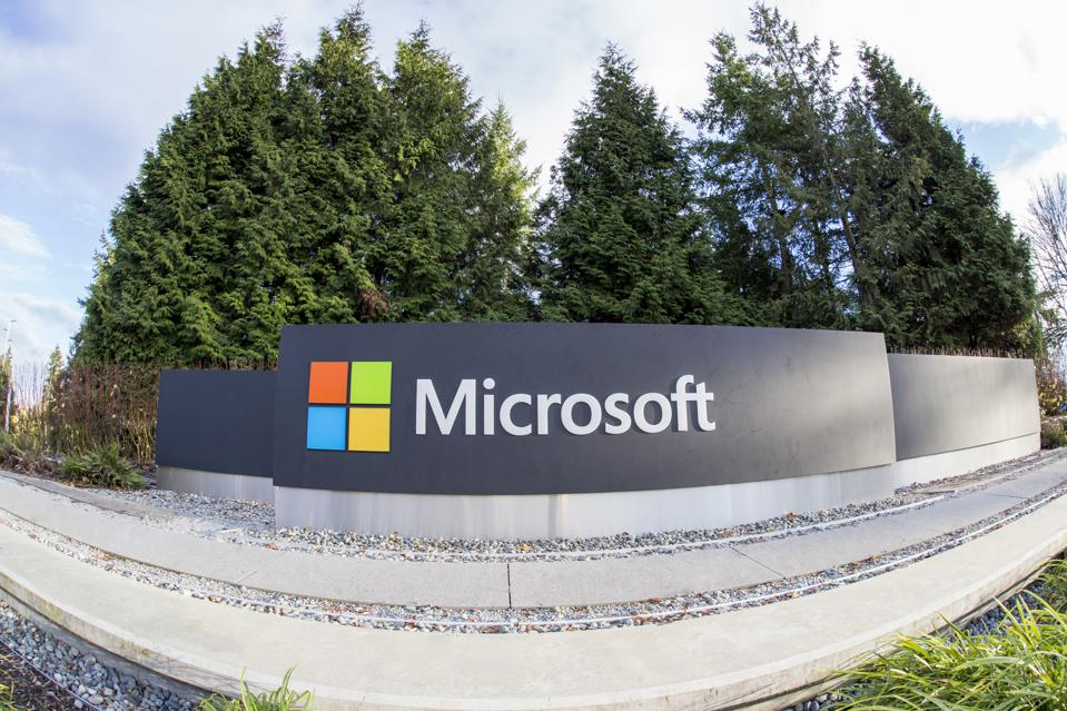 Microsoft sign at the entrance of their corporate headquarters in Redmond