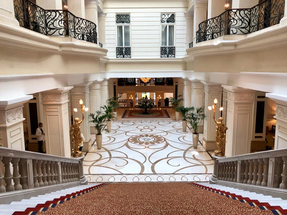 The Corinthia Hotel Budapest lobby and grand staircase