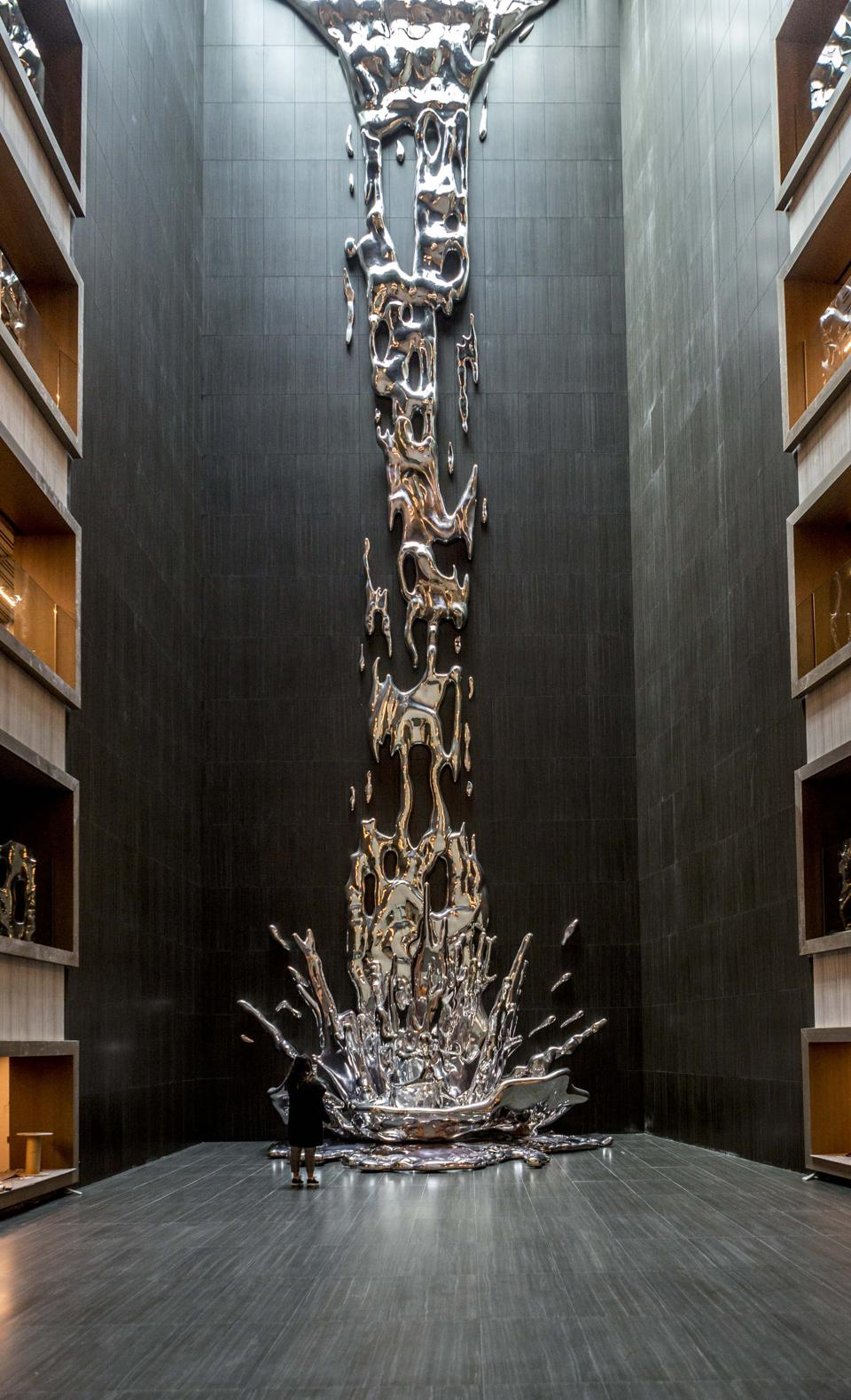 The Great Waterfall sculpture at the VP Plaza España Design hotel.