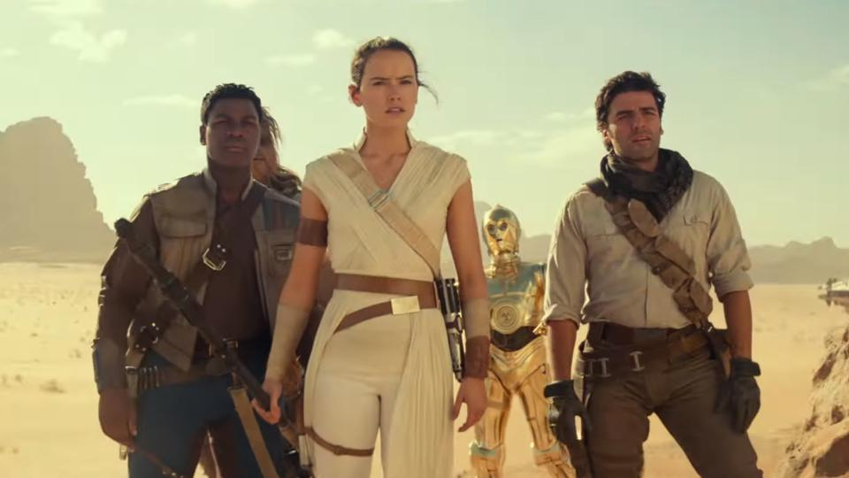 Daisy Ridley, John Boyega and Oscar Isaac in 'Star Wars: The Rise of Skywalker'