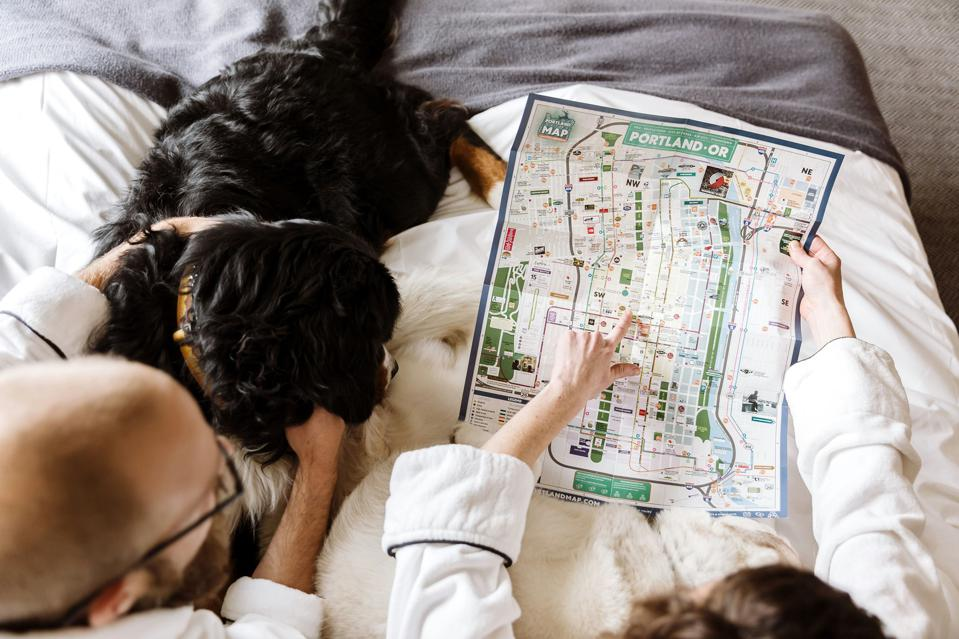 couple looking at map of Portland with dog on hotel bed