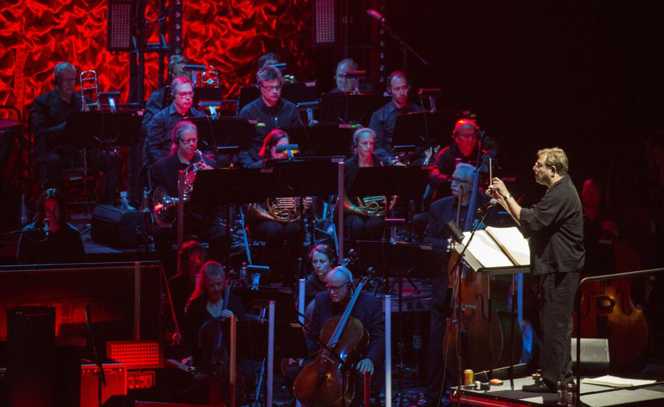Keith Levenson conducts a 48-piece orchestra on stage at Alpine Valley Music Theatre during The Who's ″Moving On″ tour. Sunday, September 8, 2019 in East Troy, Wisconsin (Photo by Barry Brecheisen)