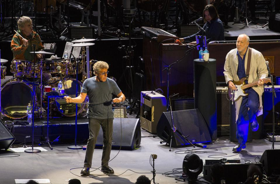 (Left to right, top to bottom) Drummer Zak Starkey, keyboard player Loren Gold, vocalist Roger Daltrey and guitarist Pete Townshend perform during The Who's ″Moving On″ tour. Sunday, September 8, 2019 at Alpine Valley Music Theatre in East Troy, Wisconsin (Photo by Barry Brecheisen)