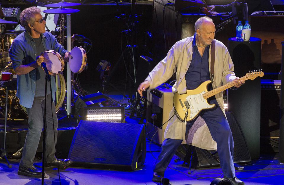 (Left to right) Roger Daltrey and Pete Townshend perform on stage at Alpine Valley Music Theatre during The Who's ″Moving On″ tour. Sunday, September 8, 2019 in East Troy, Wisconsin (Photo by Barry Brecheisen)