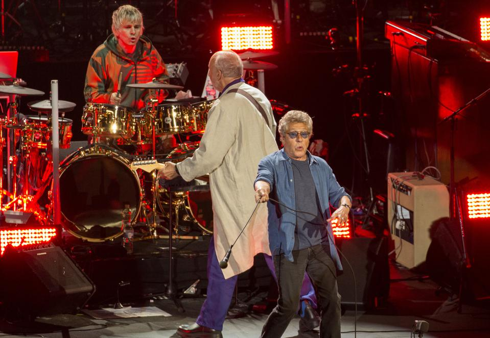 (Left to right) Drummer Zak Starkey, guitarist Pete Townshend and vocalist Roger Daltrey perform during The Who's ″Moving On″ tour. Sunday, September 8, 2019 at Alpine Valley Music Theatre in East Troy, Wisconsin (Photo by Barry Brecheisen)