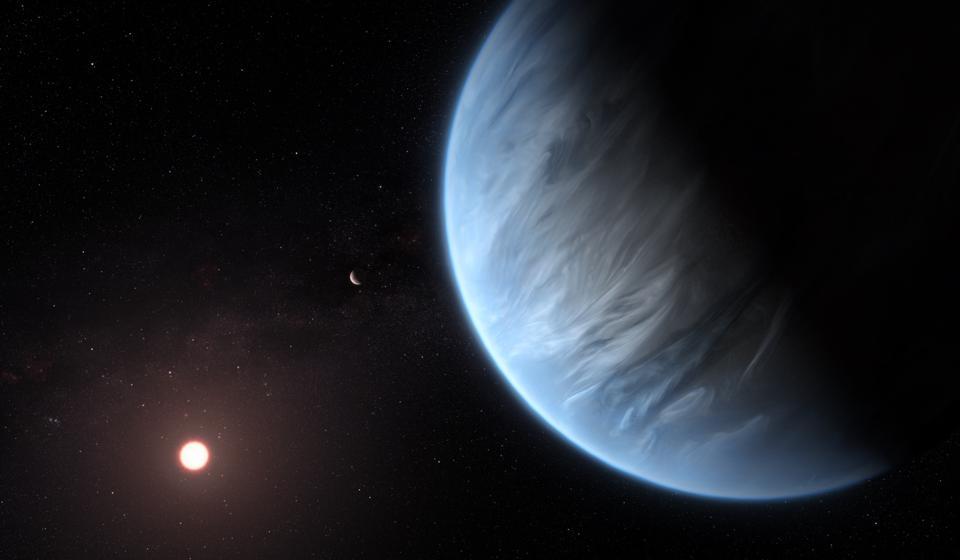 This artist's impression shows the planet K2-18b, its host star and an accompanying planet in this system. K2-18b is now the only super-Earth exoplanet known to host both water and temperatures that could support life. UCL researchers used archive data from 2016 and 2017 captured by the NASA/ESA Hubble Space Telescope and developed open-source algorithms to analyse the starlight filtered through K2-18b's atmosphere. The results revealed the molecular signature of water vapour, also indicating the presence of hydrogen and helium in the planet's atmosphere.