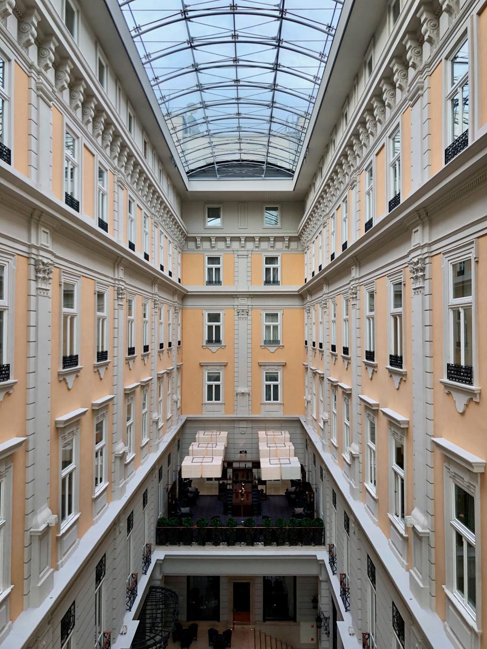 The Corinthia Hotel Budapest atrium view.