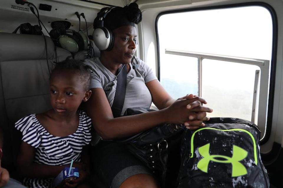 On 6 September 2019, Katheleh, 4, and her mother, Marianise, were evacuated from Marsh Harbour on Abaco Island to Nassau, Bahamas. Their home was destroyed by Hurricane Dorian, which slammed Abaco Island for 40 hours.