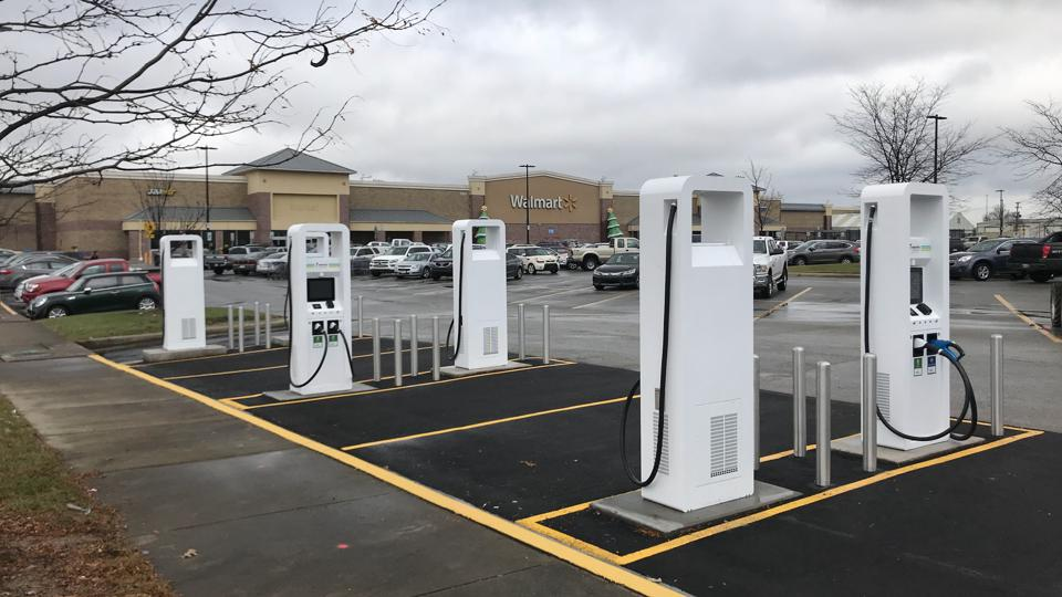 Electric-car charging station in Clarksville, IN.