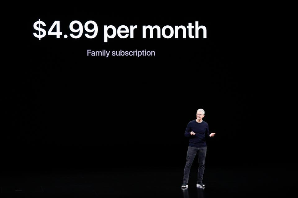 Apple CEO Tim Cook announces Apple TV+ during a new product event Tuesday, Sept. 10, 2019, in Cupertino, Calif. (AP Photo/Tony Avelar)