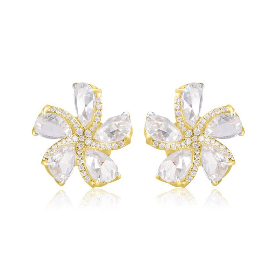 Harkah Frangipani diamond earrings.