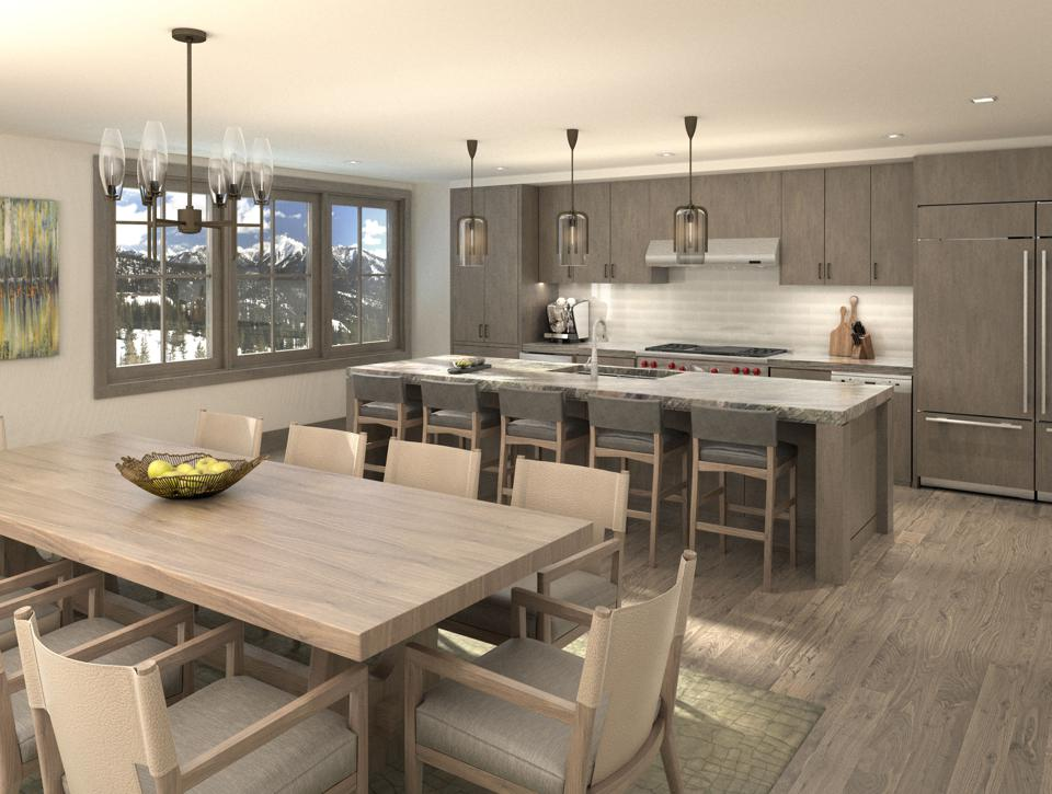 Each Montage Big Sky Residence offers well-appointed open concept kitchens including custom cabinets, stone detail and high-end appliances.