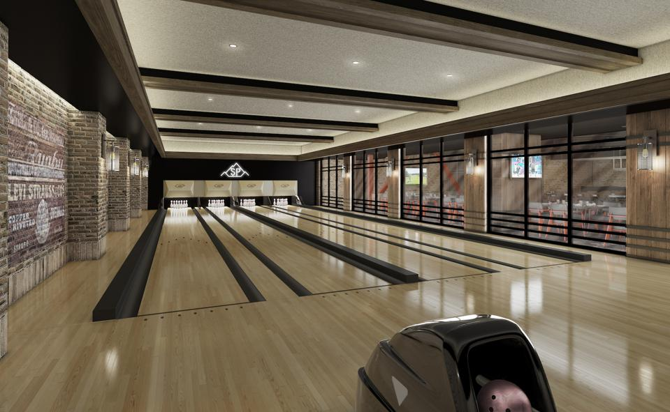 Montage Big Sky will offer many amenities including a state-of-the-art fitness center, indoor lap pool, outdoor family pool and hot tubs and a recreation room with four bowling lanes (seen above).