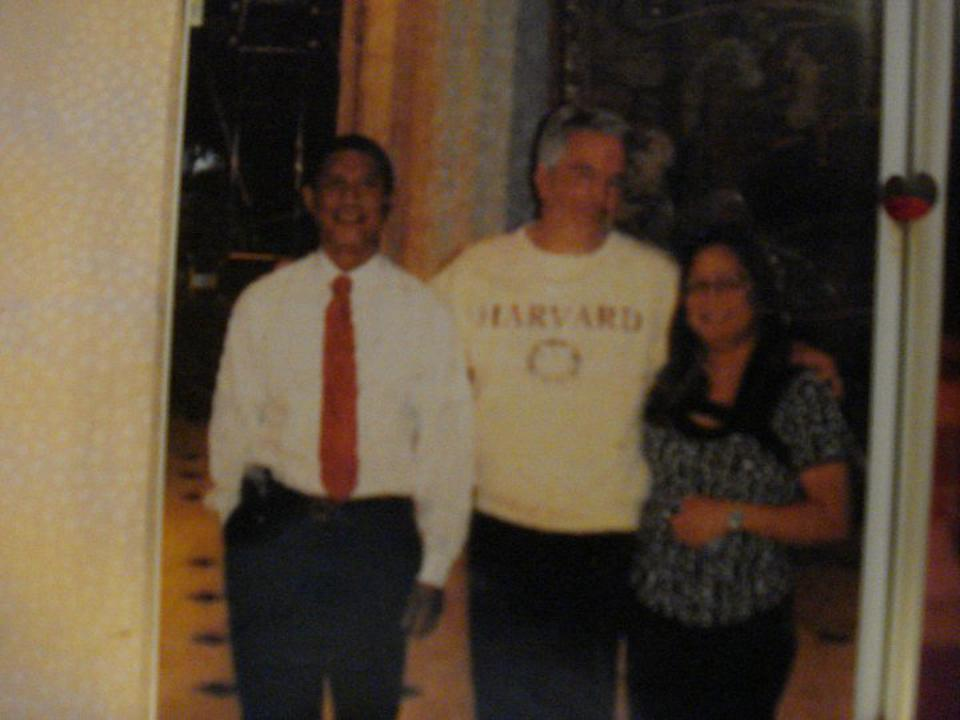 The Fontanillas with Jeffrey Epstein, center.
