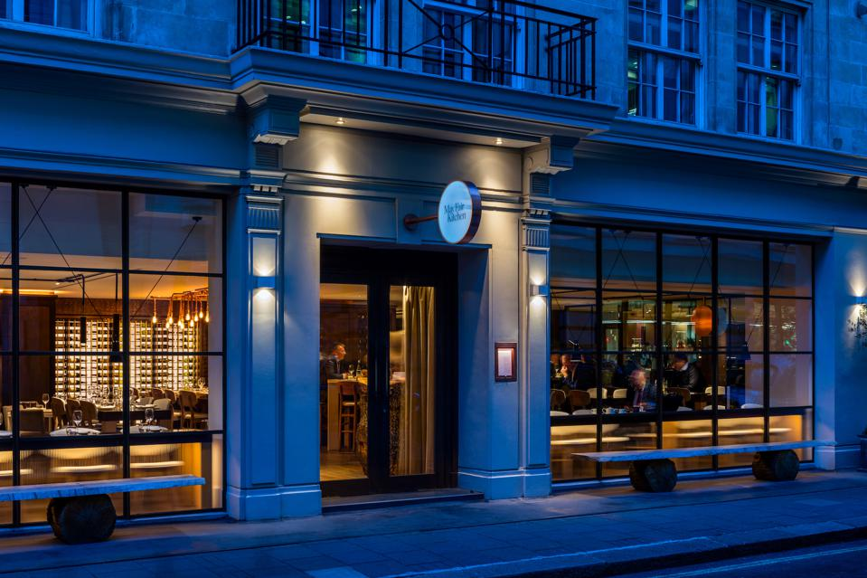 An exterior view of The May Fair Kitchen, the flagship restaurant at the hotel that showcases the Spanish and Italian small plates, as well as signature contemporary Peruvian, Mexican and Japanese dishes.