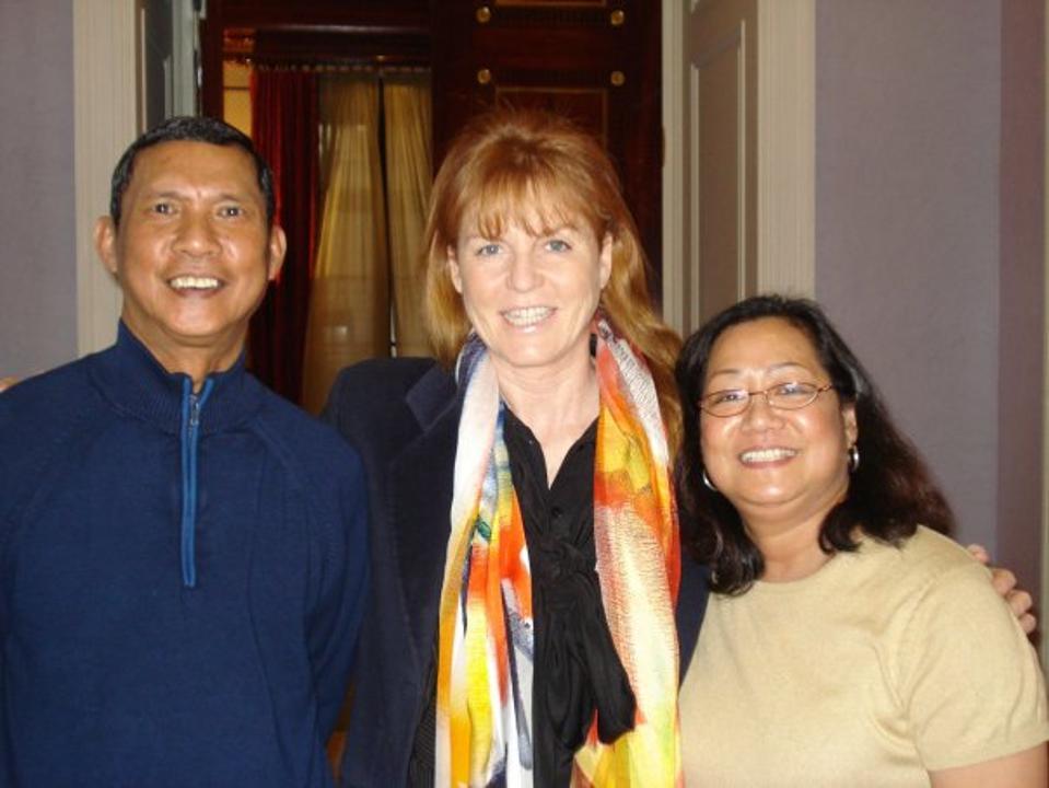The Fontanillas with Sarah Ferguson, center.