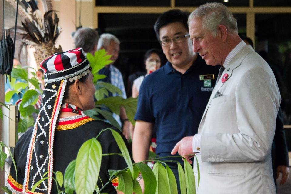 From left to right, Roddiem Anak Sabod from the Bidayuh tribe; one of the 27 ethnic groups in Sarawak, Dr. Yeo Tiong Chia and Prince Charles