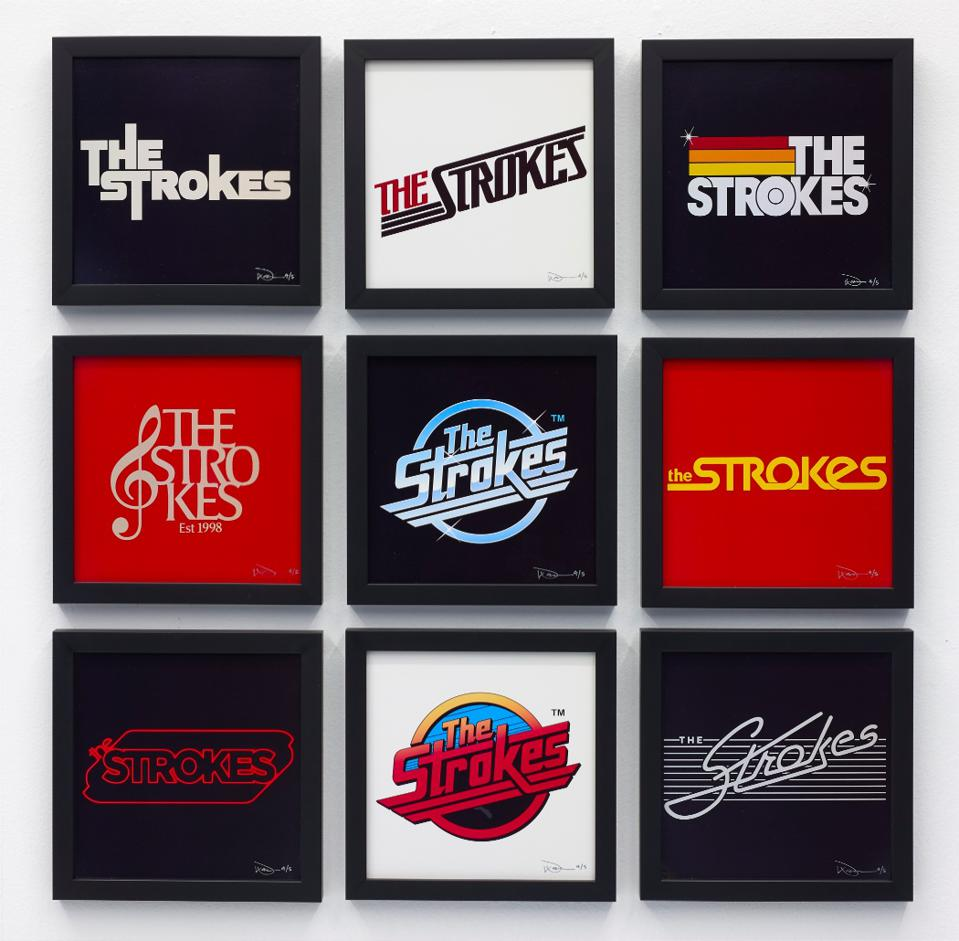 The Strokes logos by Warren Fu from 'Meet Me in the Bathroom: The Art Show.'