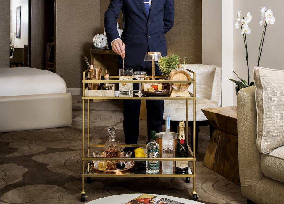 The May Fair offers a bespoke craft cocktail service in which an in-house mixologist will come to a guest's room or suite with a trolley equipped with all of the ingredients necessary to prepare one of the May Fair's signature cocktails on the spot.