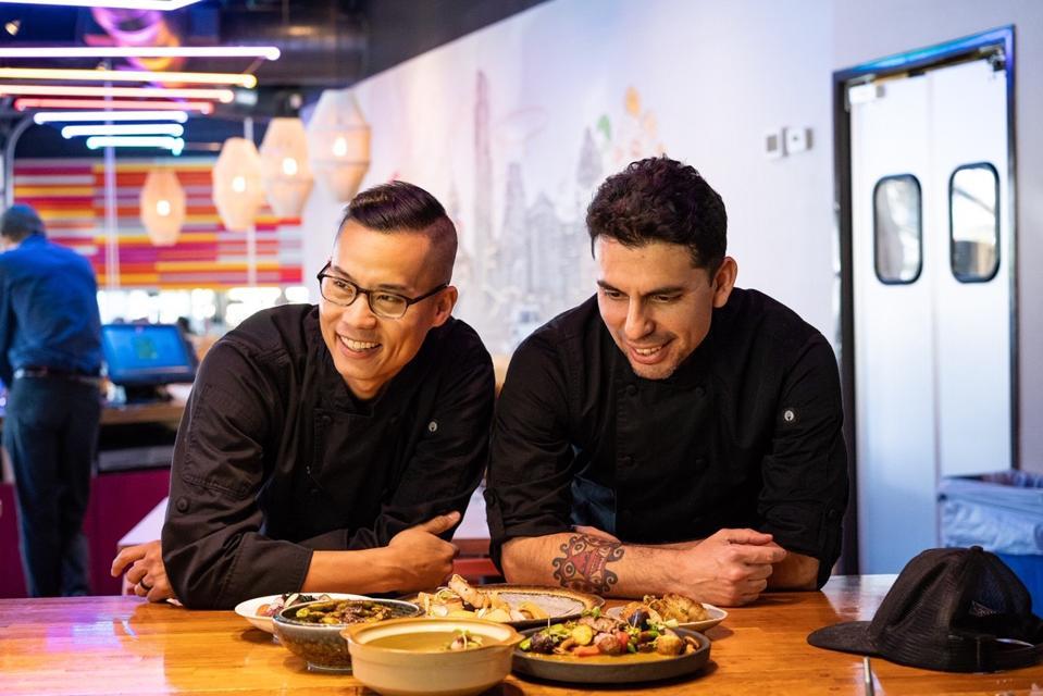Executive chef Jay Huang and chef de cuisine Julio-Cesar Florez
