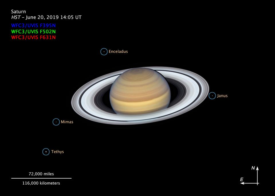 This composite image, taken by the NASA/ESA Hubble Space Telescope on 20 June 2019, shows the ringed planet Saturn with four of its 62 known moons.