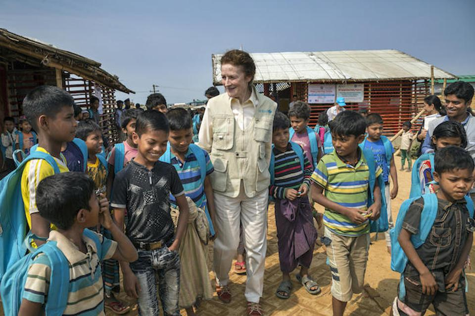 On February 25, 2019, UNICEF Executive Director Henrietta H. Fore joined a group of Rohingya children outside a learning center in the Kutupalong-Balukhali refugee camp in Cox's Bazar, Bangladesh.