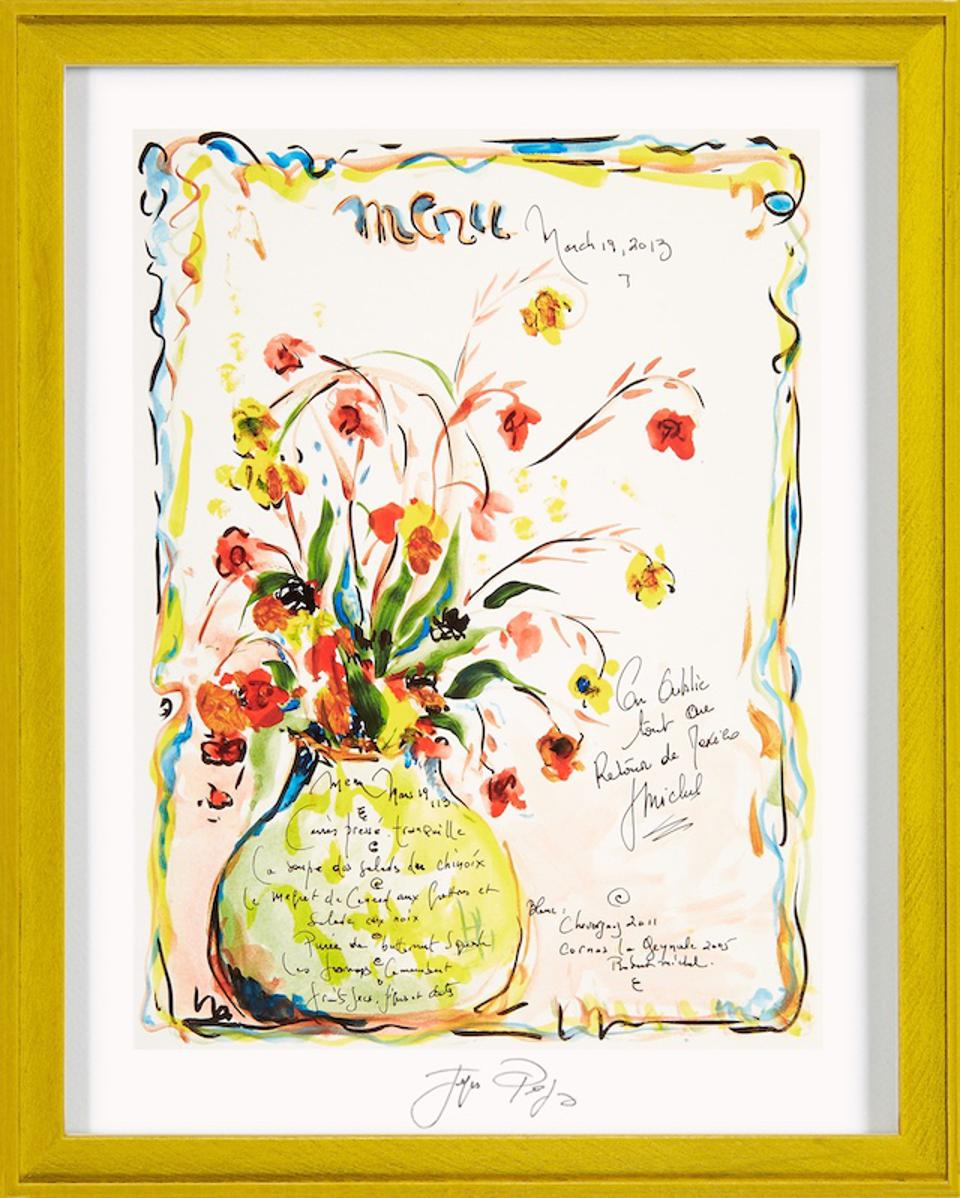 Signed print of a hand-drawn ″March 19, 2013″ menu by Jacques Pepin
