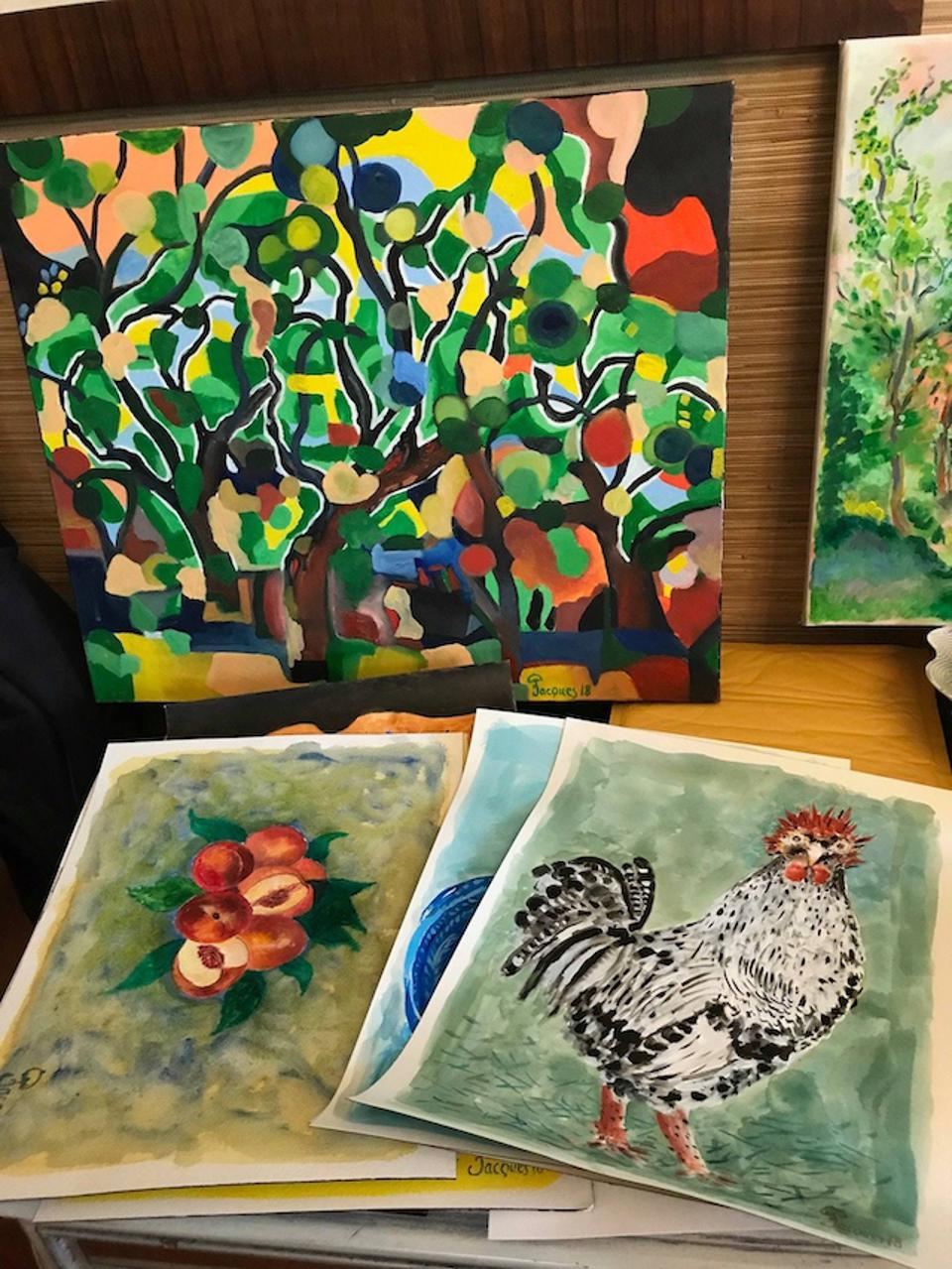 Chef Pepin's artwork is both abstract and representational