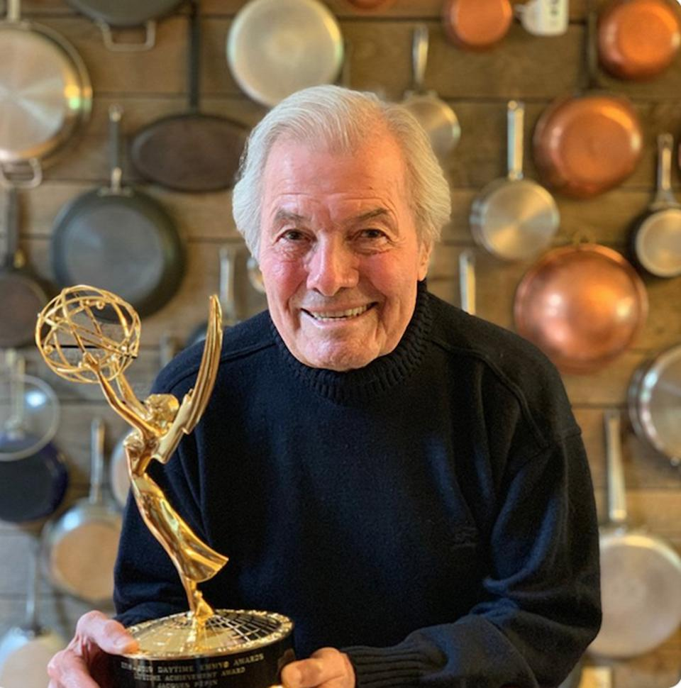 Chef Jacques Pepin with his Emmy for Lifetime Achievement
