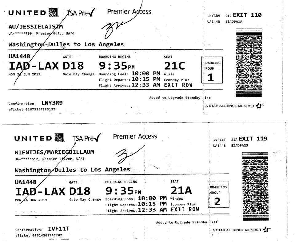 Boarding passes for United Airlines flight 1448 for the Wientjes.