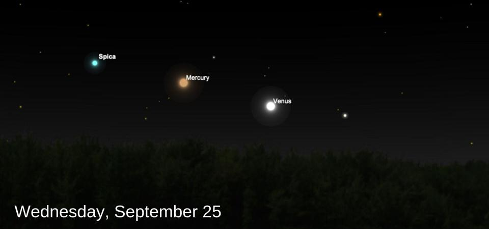 Venus and Mercury will soon line-up with bright star Spica after dusk.