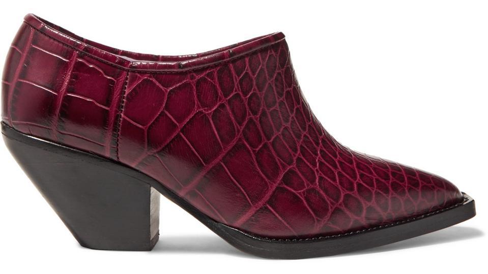 Ganni kavbojski čevlji z Croc efektom