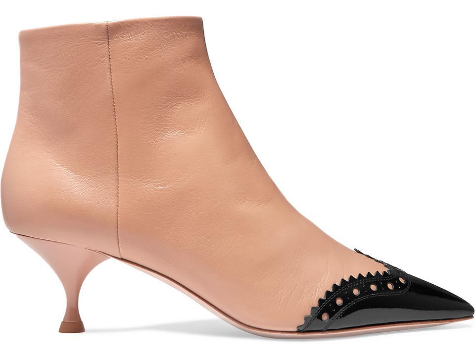 Miu Miu usnjene škornje z dvema tonoma