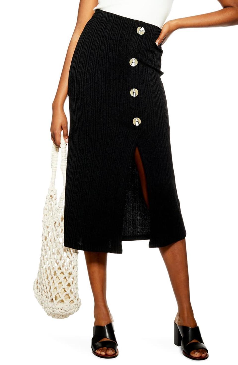 Topshop Button Rib Midi Skirt