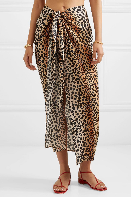 Rixo Isla Leopard-print Cotton and Silk-blend Pareo