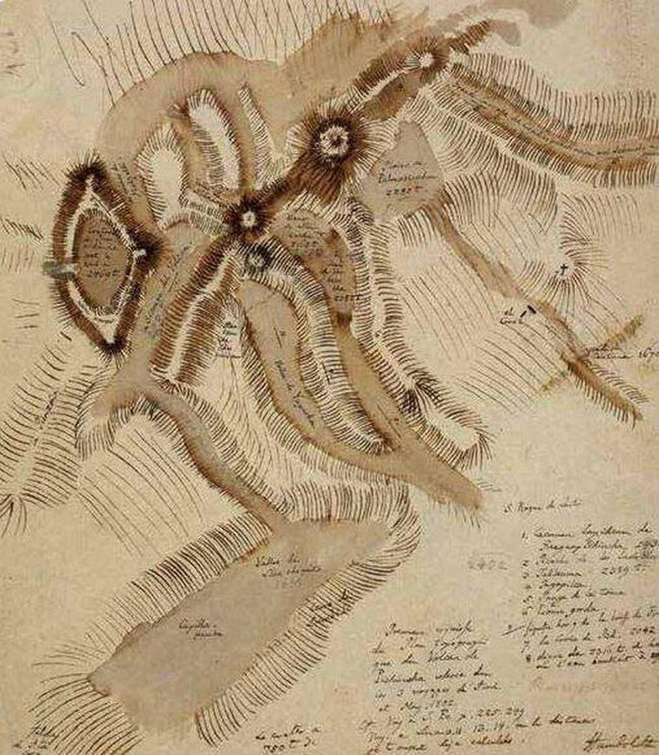 Original map of the Pichincha with its craters by Humboldt (Photo by David Bressan). Humboldt tried to classify volcanoes by the shape of the summit (pointy, dome-like, series of craters, etc.), a scheme that had not been adopted